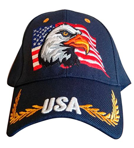 Patriotic American Eagle and American Flag Baseball Cap USA 3D Embroidery (Navy Blue) (Flag Embroidery Eagle)