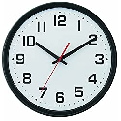 Tempus® Wide Profile Wall Clock with Dual Electric/Battery Operation and Daylight Saving Time Auto-Adjust Movement, 13.75, Black