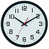 Tempus® Wide Profile Wall Clock with Dual Electric/Battery Operation and Daylight Saving Time Auto-Adjust Movement, 13.75'', Black