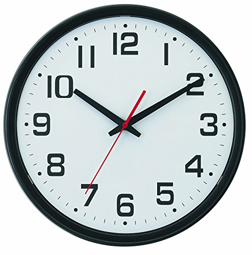 Tempus® Wide Profile Wall Clock with Dual Electric/Battery Operation and Daylight Saving Time Auto-Adjust Movement, 13.75', Black