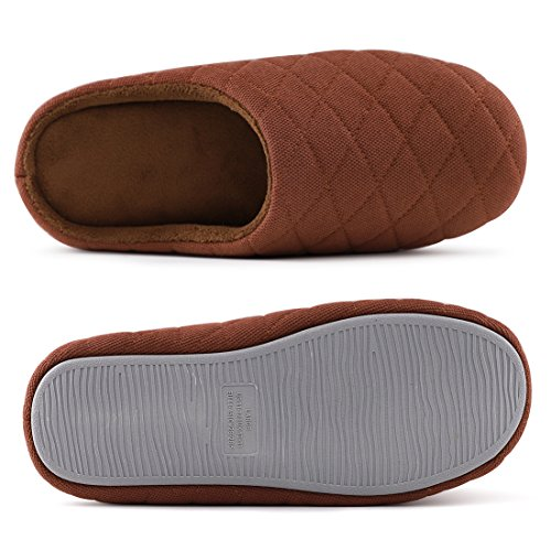 Men's Comfort Quilted Cotton Memory Foam House Slippers Slip On House Shoes Coffee bWCuGNnHu