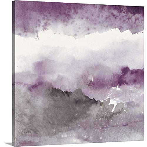 Midnight at The Lake III Amethyst and Grey Canvas Wall Art Print, 36 x36 x1.25