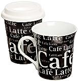 Konitz To Stay/Go Mugs, Cafe Latte Black, Set of 2