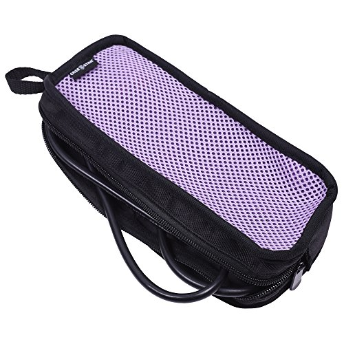 Case Star Nylon Slim Travel Organizer Carrying Zipper Mesh Bag Case for Kinivo BTC450 Bluetooth Hands-Free Car Kit in-Car FM Transmitter USB Charging HDMI VGA Line in/Out Cable OTG Cord