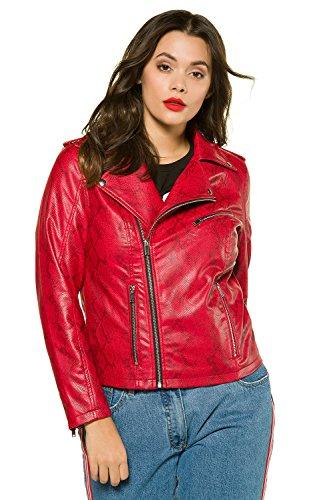 Studio Untold Femme Grandes tailles Hiver chaud Manteau Court Femme Faux Col Veste de cuir Parka Pardessus Outwear 715448 Rouge Tomate