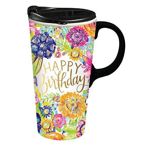 Cypress Home Happy Birthday Ceramic Travel Coffee Mug, 17 ounces