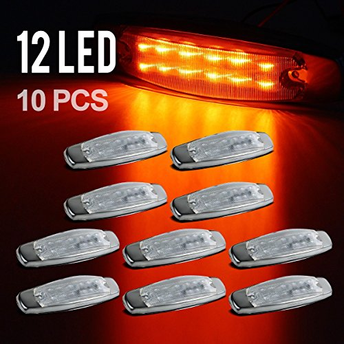 Partsam Pack10 Sealed Peterbilt-style 12 Amber LED Diode Side Marker Clearance Lamp Clear Lens Surface Mount, 2 rows of 6 diodes, Stainless (Side Marker Lamp Trim)