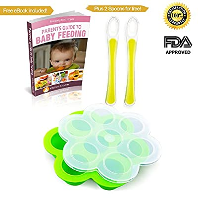 Green Baby Food Storage Container with Lid by Kitchen Experts with 2 Free Silicone Baby Spoons and Free Ebook- BPA free, FDA approved, Safe for freezing Homemade Baby Food,, by Kitchen Experts that we recomend personally.