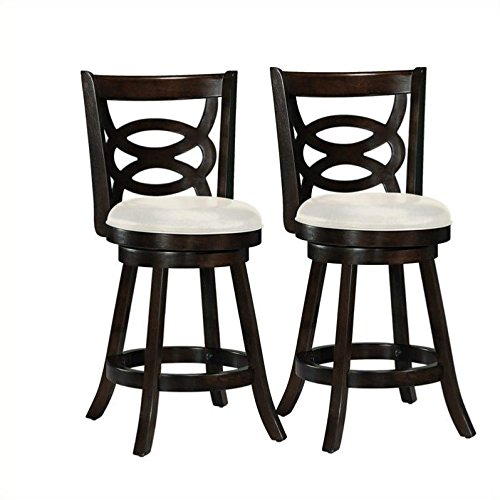 CorLiving DWG-814-B Woodgrove Wood Counter Height Barstool with Leatherette Seat in Cappuccino, 360 Swivel, 24-Inch Seat Height, Set of 2 For Sale
