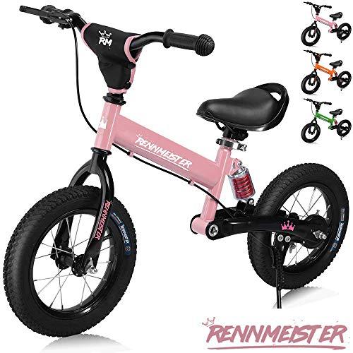 🥇 Deuba Bicicleta de Equilibrio Rennmeister para niños sin Pedales a Partir de 3 años con neumáticos de Aire Freno Rosa 12 Pulgadas