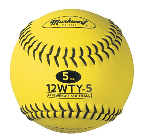 Markwort Lite Weight and Weighted Leather Softball, Optic Yellow, 5-Ounce