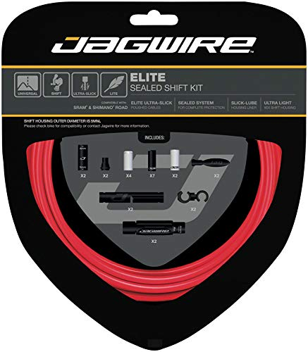 Jagwire Elite Sealed Shift Cable Kit SRAM/Shimano with Ultra-Slick Uncoated Cables, Stealth Red 5 mm