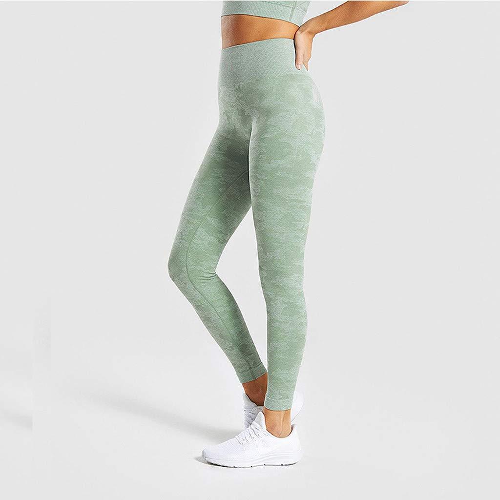 Minshao Womens seamless camouflage knitted Yoga Pants Sports trousers Seamless Pants