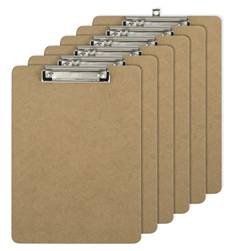 (Officemate Letter Size Wood Clipboards, Low Profile Clip, 6 Pack Clipboard, Brown)