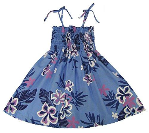 RJC Girls Floral Leaf Elastic Tube Dress Blue 7 by RJC