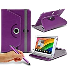 Acer Iconia A1-830 ( Purple ) Tablet Luxury 360° Rotating PU Leather Wallet Spring Stand Skin Case Cover & Capacitive Touch Stylus Pen by ONX3