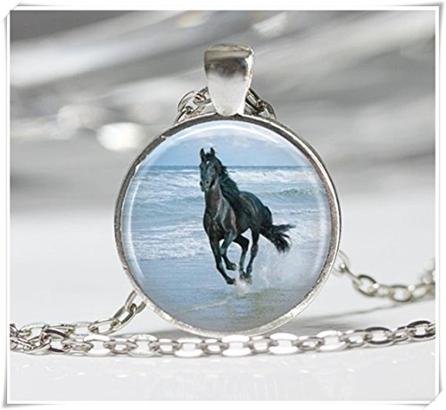 - Magical magnet Black Stallion Horse Necklace Pendant Wearable Art Horse Jewelry Equine Jewelry