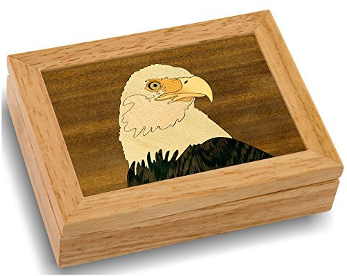 MarqART Wood Art Eagle Box - Handmade USA - Unmatched Quality - Unique Original Art Work - Eagle Scout Gift, Ring Trinket Jewelry Box (#4101 Eagle Head 4x5x1.5)