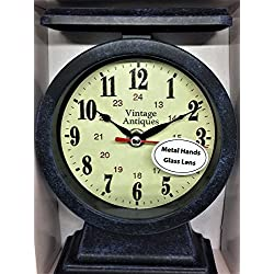 Vintage Look Table Clock Metal Hands