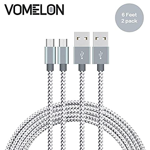 Micro USB Cable, [6FT-2Pack] Nylon Braided Tangle-Free Micro USB Charging Cable Charge Cord for Android, Samsung, HTC, Nokia, Sony, Nexus, LG and More-[Grey + (Samsung Android Docking Station)