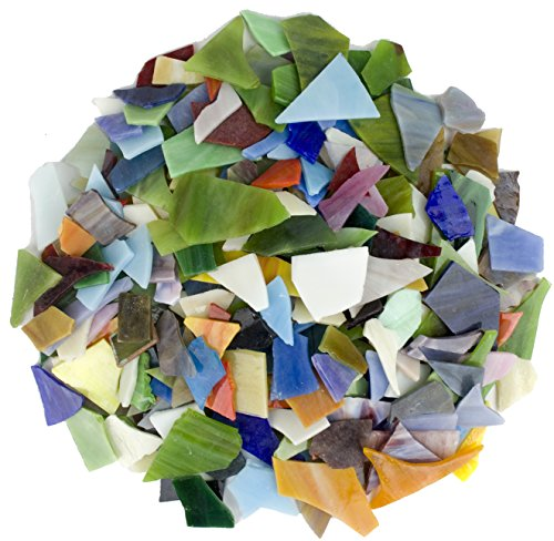 Glass Mosaics Pieces Bright Stained Glass, Assorted Colors and Irregular Shapes, 35 ounce Value Pack - Tray Glass Stained Art