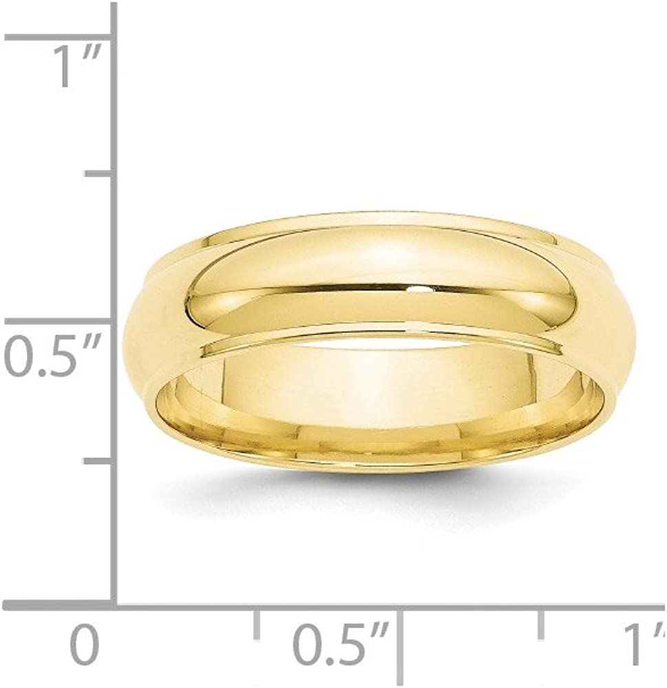 10K Yellow Gold Wedding Band Ring Ridged Standard Half Round Solid Polished 6 mm 6mm Half Round Edge B