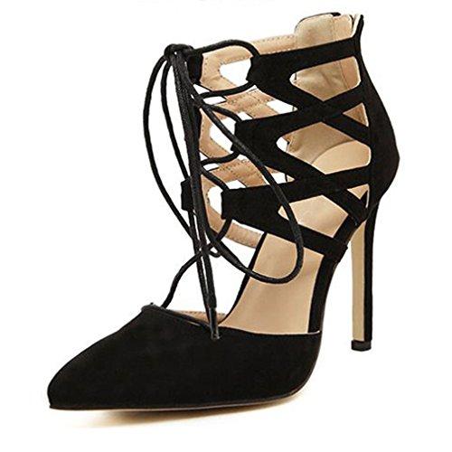 Eastlion Women's High Cross Straps Hallow Martin Stiletto Heel Sandals Peep Toe Shoes Black-a AxuNyWPCj