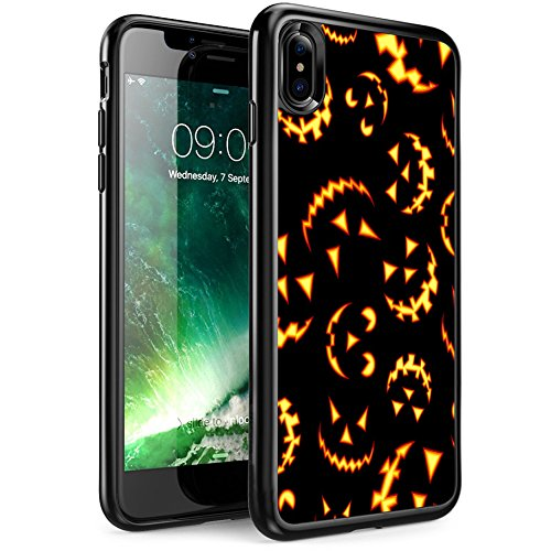 FTFCASE Case Replacement for iPhone Xs (2018), Case for Apple iPhone X 2017 Release Black Cover TPU Rubber Gel - Pumpkin -
