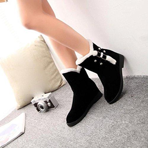 Transer® Damen Kurz Stiefel & Stiefeletten Warm Weich Synthetisches Wildleder+Plastik Pelz Schuh Stiefel Schwarz