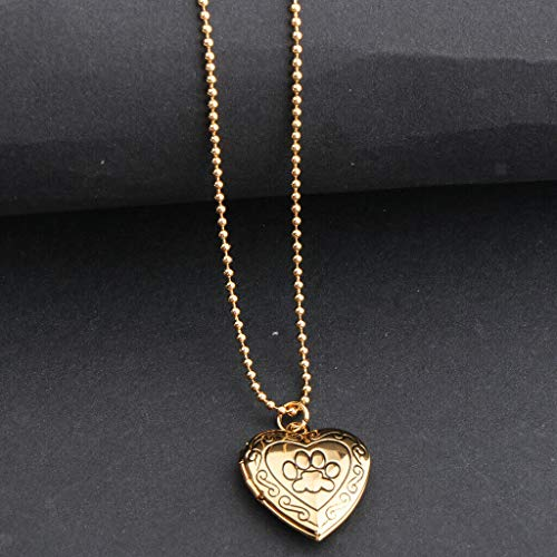 Brass Thistle Tube - Heart-Shaped Charm Pendant Necklace Photo Locket w/Chain Paw Print Engraved Necklace Jewelry Crafting Key Chain Bracelet Pendants Accessories Best| Color - Gold