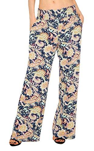 Urban CoCo Women's Boho Palazzo Pants Wide Leg Lounge Pants (L, 1)