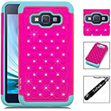 Samsung Galaxy Core Prime G360 / Prevail LTE Case, ToPerk (TM) Luxury Spot Diamond Dual Layer Armor Case + Free HD Screen Protector & Stylus Pen As Bundle Sale - Hot Pink
