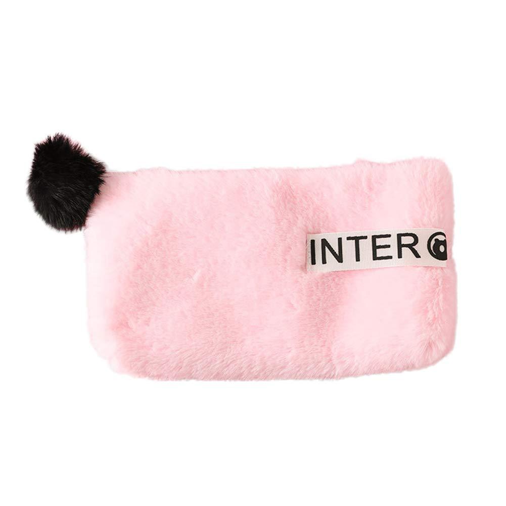 minishop659 Women Girls Fashion Plush Soft Fluffy Ball Coin Purse Card Holder Clutch Makeup Bag Light Pink