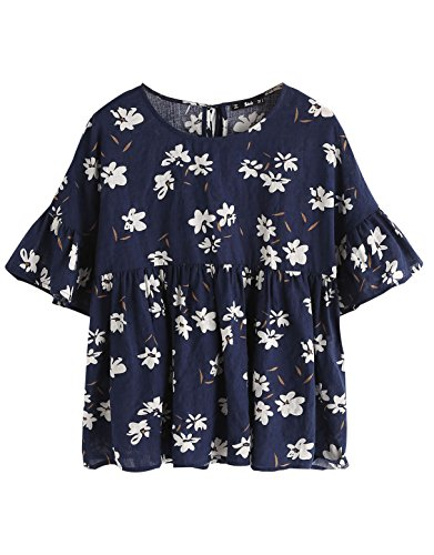 SheIn Women's Keyhole Tie Back Ruffle Short Sleeve Floral Print Smock Top X-Small (Floral Keyhole Back Top)