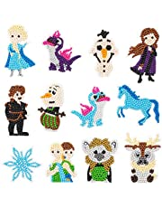 TICIAGA Frozen 5D Diamond Painting Kit for Kids, Frozen 2 Stick Paint with Diamonds by Numbers Kit Easy to DIY, Full Drill Elsa Olaf Sven Bruni Diamond Art Craft, 12pcs Sparkle Frozen Mosaic Stickers