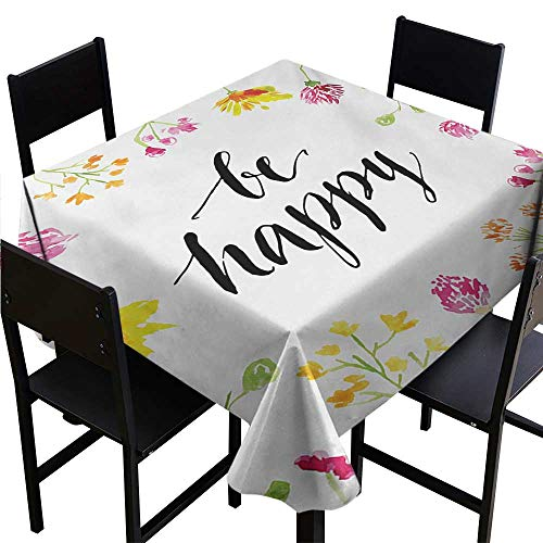 - dsdsgog Round Tablecloth Quote,Positive Vibes Spring Revival Floral Be Happy Phrase Framed by Colorful Wild Flowers,Multicolor 50