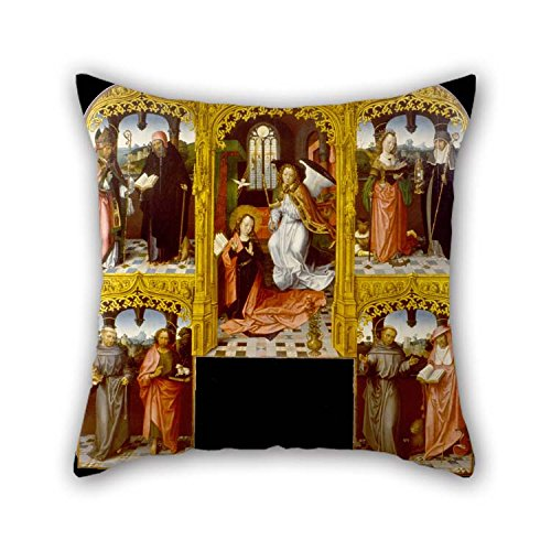 Alexandria Accent Chair - Oil Painting Master Of Saint John The Evanglist - The Annunciation With Saint Lazarus And Antony Abbot, Catherine Of Alexandria And Chiara, Anthony Of Pillowcase Best For Play Room Deck Chair Car