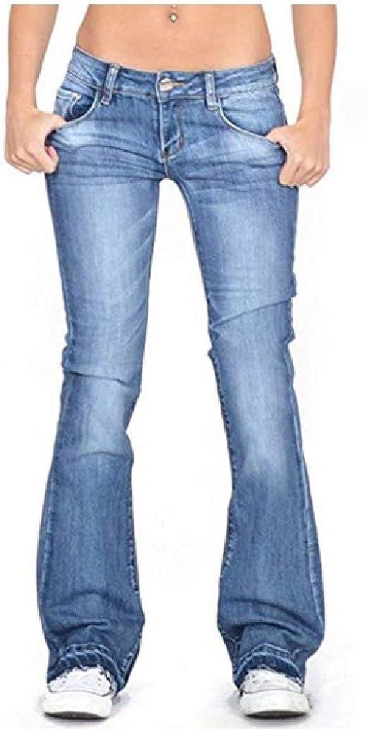 EnergyWD ポケットワイドレッグウォッシュヒップアップファッションストレートレッグジーンズと女性グラデーション