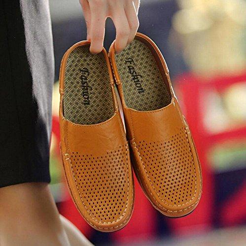 GLTER Zapatillas Hombre Zapatillas Verano Nuevo Slip On Cuero Zapatillas huecos transpirables Zuecos Zapatos Zapatos Casual Yellow