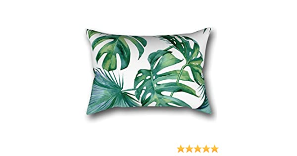 LVTIAN Classic Palm Leaves Tropical Jungle Green Rectangular Pillowcase Protector Cover 20x30 Inch