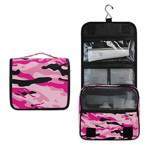 Hanging Toiletry Bag Red Camo Large Cosmetic Makeup Travel Organizer for Men & Women with Sturdy Hook