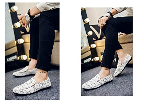 44 Hombre Clásico Zapatos E 43 Mocasines Costura Caqui Elemento Suave Goma De Talla Suela Lona Color Gris Cn Azul Planos 40 blanco Coser 41 Super 39 42 txUZqwqf