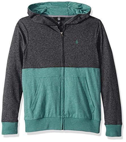 (Volcom Big Boys' Wowzer Colorblock Zip up Hooded Sweatshirt, Black, Medium)