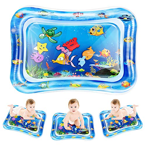 QPAU Tummy Time Water Play Mat, Baby Toys for 3 6 9 Months, The Perfect Tummy Time Toy for Infant Early Development Activity Centers Your Baby's Stimulation Growth