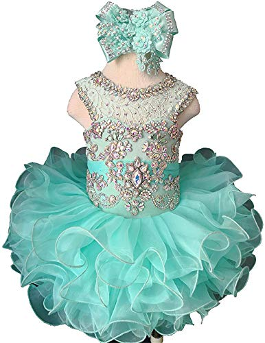 M_RAC Baby Girl's Crystal Jewel Pageant Cupcake Dress Birthday Party Mini Gowns 1 US Mint ()