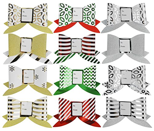 Set of 12 AssortedHoliday Label Gift Bows With Foil Glitter - Perfect for Preparing Elegant Gifts This Holiday Season!