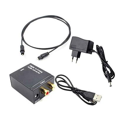 Digital analógica Audio óptico Toslink Coax analógico R/L RCA Adaptador Audio con Jack 3