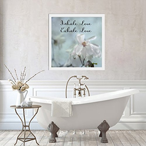 Inspirational Wall Art Print, Relax Breathe Wall Art, Inhale Love Exhale Love Quote, Positive Affirmation, Motivational Artwork for Office, Bedroom, Guest Room, White Magnolia Photograph 12x12, 20x20