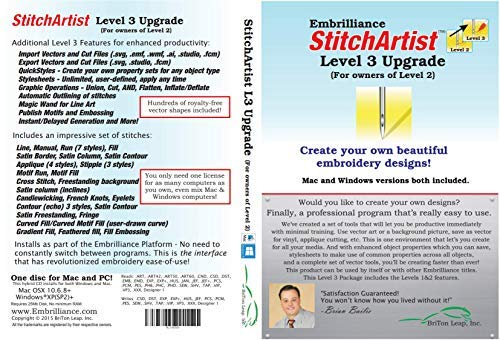 Embrilliance StitchArtist Upgrade Level 2 to Level 3 Digitizing Embroidery Software for Mac & PC