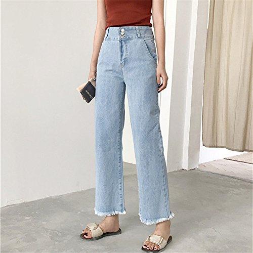 Otoño Anchos Pantalones Cintura Relaxed clothing Senora COCO Primavera les Pants Vaqueros Jeans Alta 7 Mujer Mom 8 ZBRxHpqw